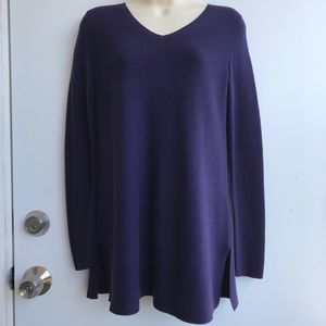 Eileen Fisher Petite Purple Organic Cotton Sweater
